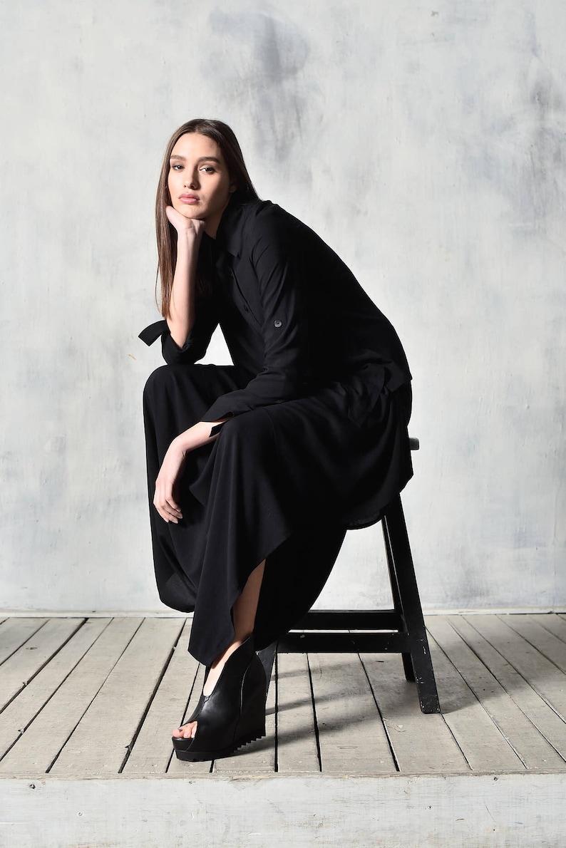 f78e18b3084fba New Asymmetric Buttoned Black Long Sleeve Viscose Textiled | Etsy