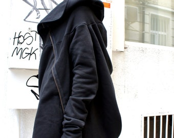 Asymmetric Extravagant Black Hoodded Coat / Qilted Cotton  A07015