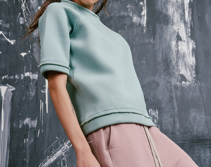 New Mid Sleeve Ash Rose French Terry Cotton Sweatshirt by Aakasha А90217
