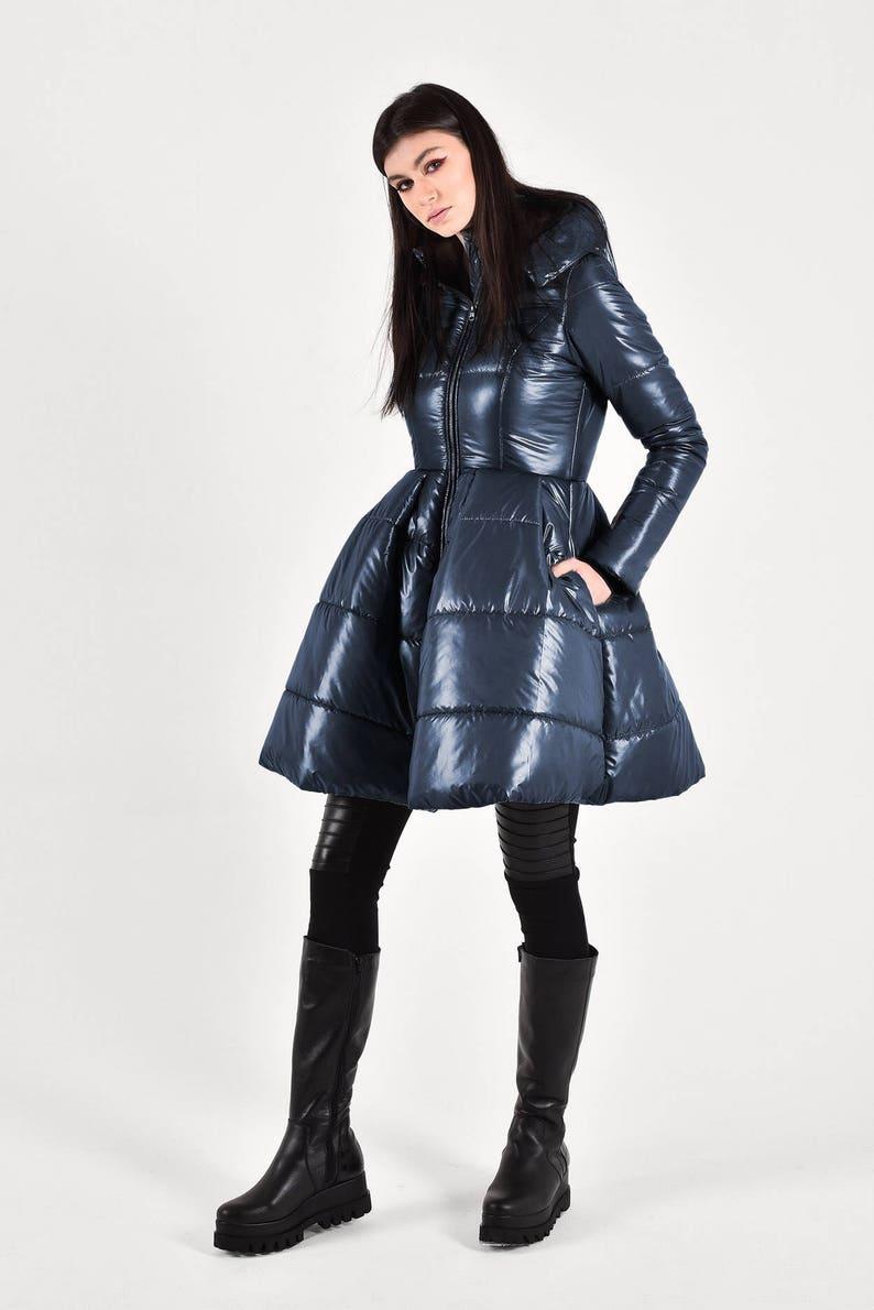NEW Beautiful peplum winter jacket /Navy   Hodded Warm Jacket image 0