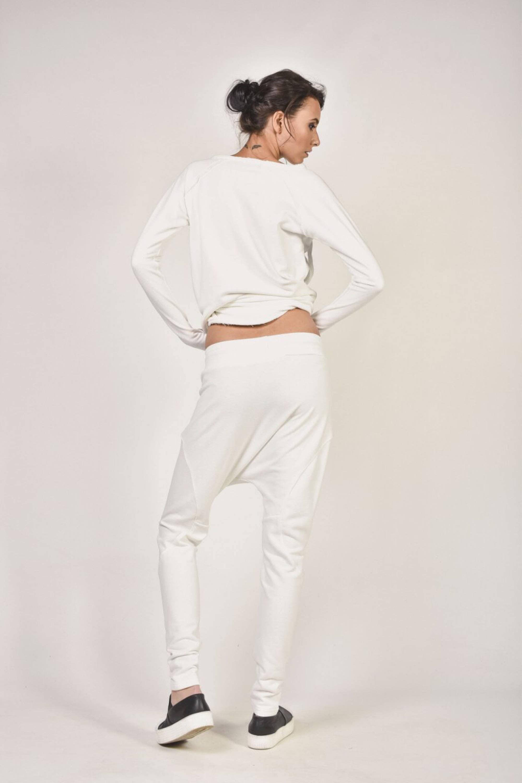 White Loose Casual Drop Crotch Pants