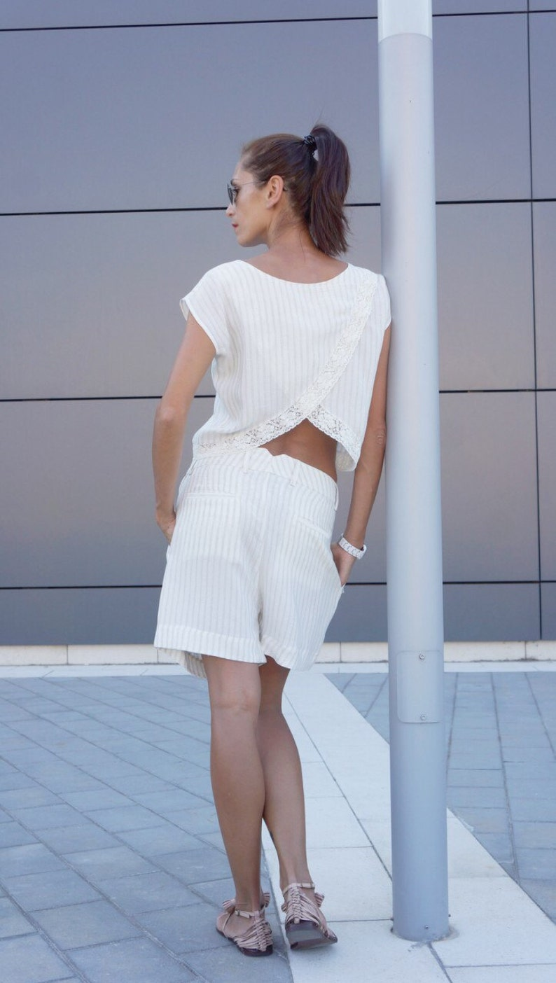 NEW Bohemian White Loose Cotton Linen  Top /  Soft Asymmetric image 0