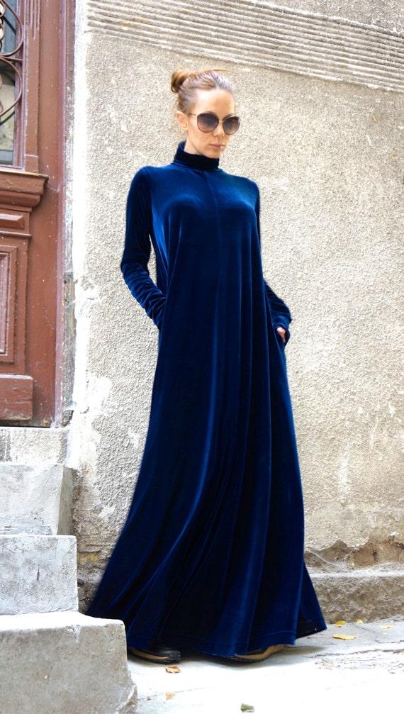 58c123089c0c Neue Maxi samt tief königliche Kleid   Kaftan Kleid     Etsy