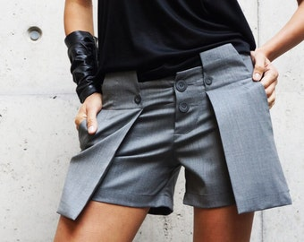 NEW Sexy Stylish Unique Shorts / Ligth Grey Cold Wool  Pants / Extravagant Shorts with Extra Large Pockets  by AAKASHA A05312