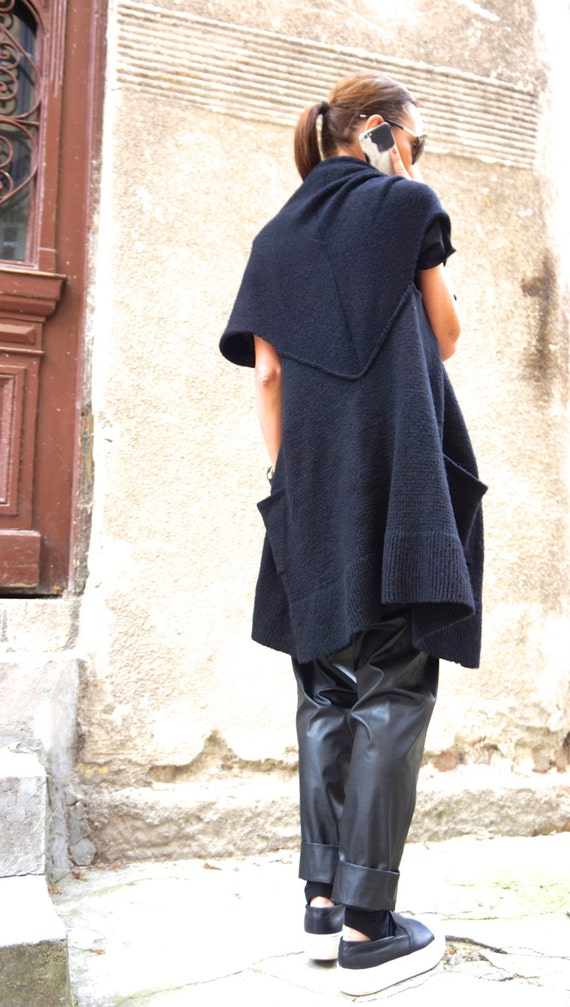 Top Side Sleeveless Black A06224 Oversize Maxi AAKASHA Open Pockets Overall Vest Fully Knit NEW Top vgYwqpH