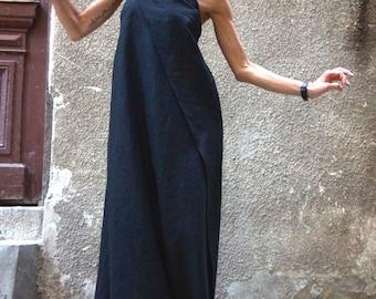 Maxi Dress, Black Kaftan Linen Dress, One Shoulder Dress, Extravagant Long  Dress, Party Dress, Cold Shoulder Maxi Dress  by AAKASHA A03144