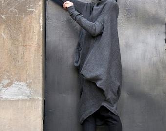 Oversize Dark Grey Loose Casual Top / Asymmetric Raglan Long SleevesTunic Knit Top / Maxi Blouse Turtle neck Tunic A02058