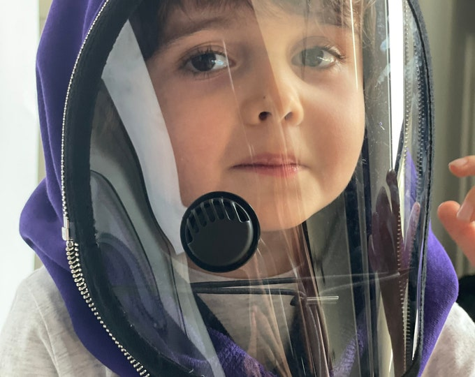 Fully Closed Hooded Kids Shield , Hooded Face Shield, Anti Fog Vent Child, Face Hood Mask, Protective Face Wear, Zipper Shield by Aakasha
