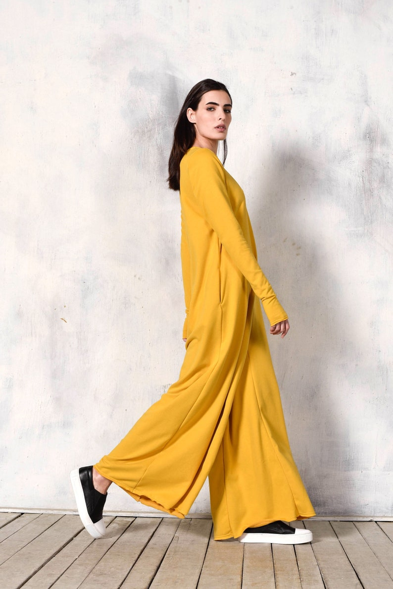 33e94d6bf94b NEW Collection Yellow Cotton Wide Leg Maxi Jumpsuit