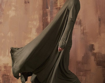New Maxi Dress / Grey Asymmetrical Kaftan / Extravagant Long Dress Stylish extra long tunic dress / Loose sleeveld dress by Aakasha A03902