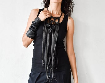 Trendy Rich Leather Ornaments Long Necklace A16853