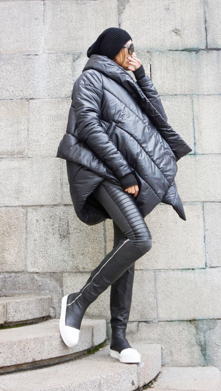 01946befe2f NEW Winter Extra Warm Asymmetric Extravagant Black Hooded Coat   Waterproof  Windproof Quilted with Side Pockets by Aakasha A07550. gallery photo ...