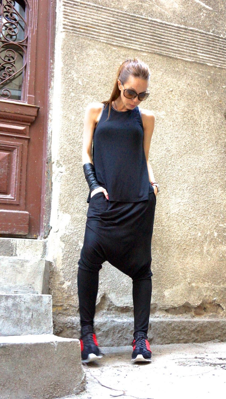 7abee69a0ddd74 NEW Collection Boho Pants Loose Casual Black Drop Crotch Harem ...