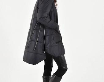 NEW Beautiful Multi functional winter zipper jacket / Hooded Extravagant Coat  HandMade by Aakasha A20771