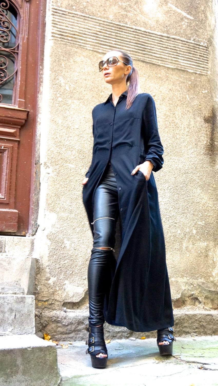 ad4f85563101a0 NEW Hot Black Maxi Loose Shirt / Asymmetric shirt / Oversize New ...