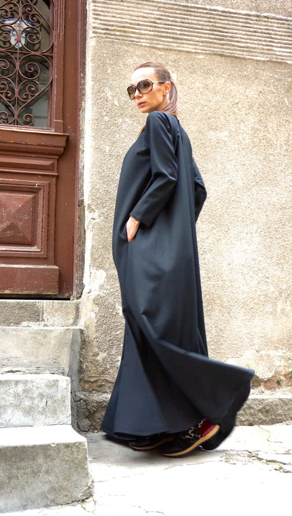 ef6408e187ac Neue Maxi-Kleid   Kaftan schwarz   lange Ärmel   Seitentaschen   Etsy