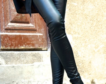 NEW COLLECTION Black Extra Long Leggings / Faux Leather Front  / Viscose Elastic Back by Aakasha A05139