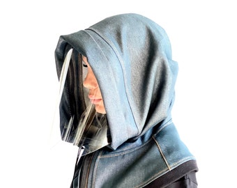 Hooded Denim Face Shield Reusable, Shield Mask , Face Mask Adults, Face Hood Mask, Protective Face Wear, Zipper Shield  by Aakasha