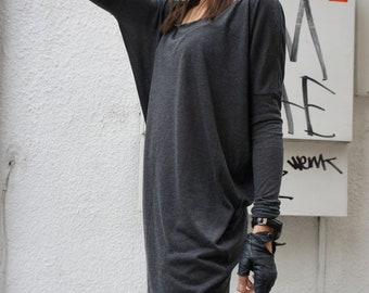 Sexy Casual Tencil Top / Grey Soft Fabric / Loose Tunic A01060