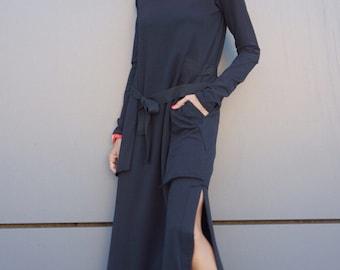 New  Maxi Dress / Black Kaftan Cotton  Dress /Side Pockets  Dress / Extravagant Cotton Party Dress /Daywear Dress A03464