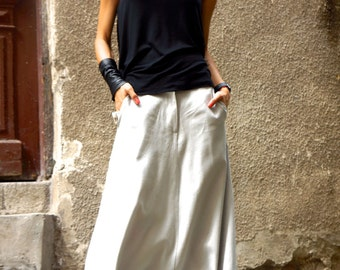 NEW Collection Loose Linen Light Grey Harem Pants / Extravagant Drop Crotch Side pockets Pants Extravagant Trousers by AAKASHA  A05131
