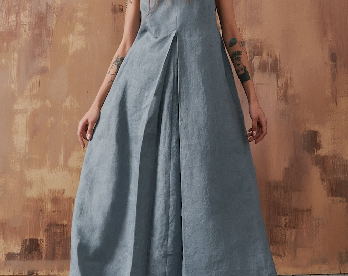 Linen Front Pleat Maxi Dress with Hood by Aakasha