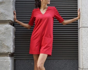 NEW Collection  Red Polyviscose Zipper Jumpsuit  / V Neck Extravagant Loose Jumpsuit with side  pockets by AAKASHA A19308