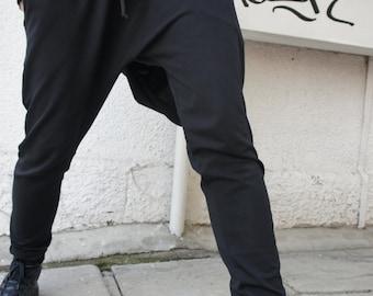 Loose Casual Black Drop Crotch Harem Pants / Extravagant Black Pants/Unisex pants A05069