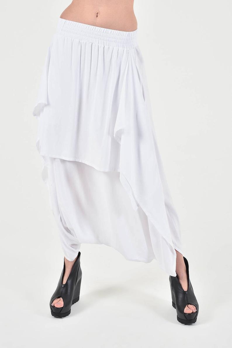 New White Elegant Drop Crotch Skirt Pants / Stylish Flowing image 0