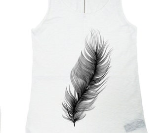 """NEW Spring/Summer White / Gentle as   """"Feather """" Tank  Top /  Soft Casual Cotton Sport Wear /  Extravagant Tank Top, (0323) A04402"""