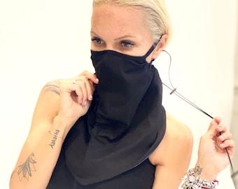 Face Mask  with OEKO-Tex Cert. Filter Layer,Protective  Neck Gaiter ,Reusable Washabke Bandana , Mask with nose wire  ,Aakasha Balaclava