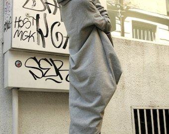 Grey Extravarant Maxi Asymmetric Hoodie / Quilted Cotton Warm  Top A08023