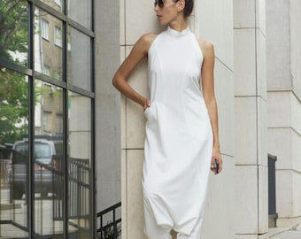 NEW Collection  Sexy Off White Polyviscose Drop Crotch Jumpsuit /Party Extravagant Loose Jumpsuit Extravagant Back by AAKASHA A19349