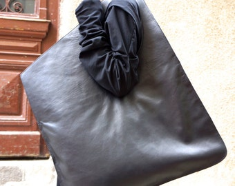 NEW Genuine Leather Black Bag / High Quality  Tote Asymmetrical  Large Bag by AAKASHA A14176