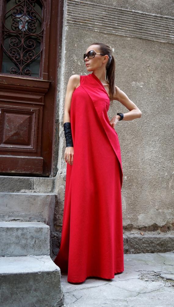 e3ec9e013948 NEUE Sexy Maxi Kleid   heißen roten Kaftan Leinen Kleid   eine   Etsy