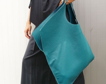 NEW Genuine Leather Bag / High Quality  Tote Asymmetrical  Large Bag by AAKASHA A14176