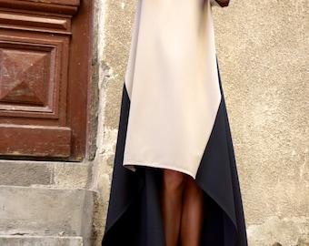 New Collection  Maxi Dress /Beige and Black Asymmetrical Kaftan/Extravagant Long  short  Dress /Party Dress /Daywear Dress by AAKASHA A03221