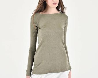 Aakasha Basic Olive Green regular Fit Long Sleeve Top Normal front Longer Back A90235