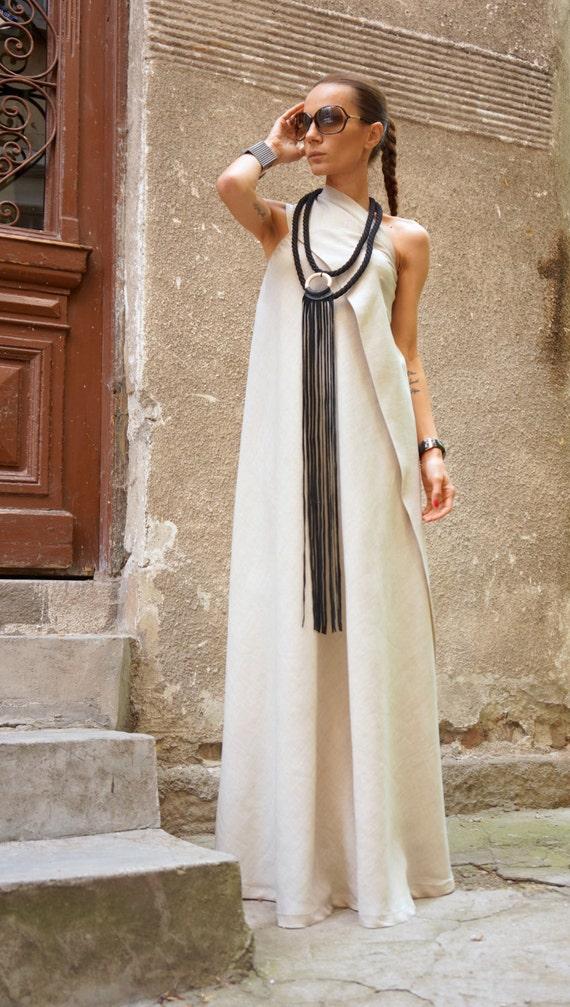 349b1c2fbbb3 Maxi Dress / Natural Linen Kaftan Dress / One Shoulder Dress / Extravagant  Long Dress / Party Dress by AAKASHA A03144