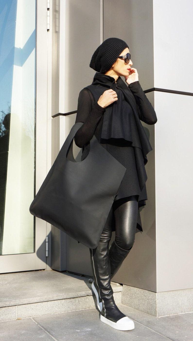 NEW Genuine Leather Matt Black Bag  High Quality  Tote Asymmetrical  Large Bag by AAKASHA A14552