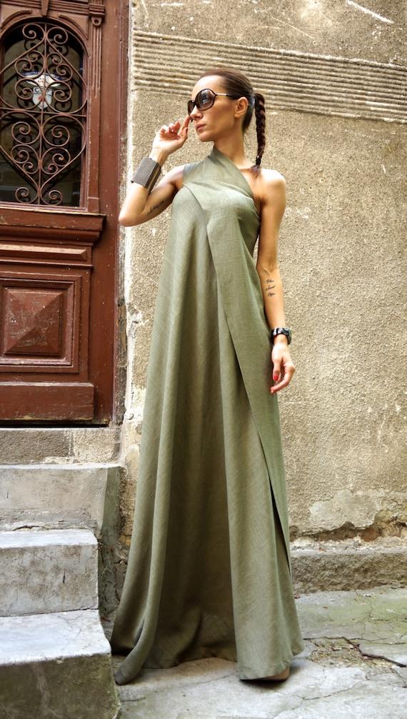 2801764b352e NEUE Maxi-Kleid   olivgrün Kaftan Leinen Kleid   eine Schulter   Etsy