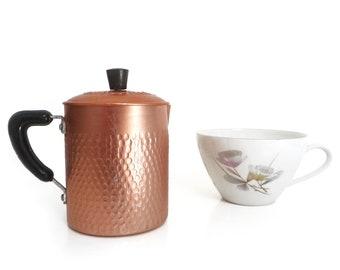 Vintage Italian Infuser with lid, Chamomile Infuser, Tea Strainer, rose gold copper aluminum Camomile Herbal Infuser - Shelf Display - 1960s