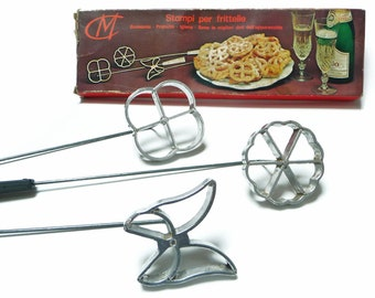 Vintage Waffle Molds - Scandinavian Rosette Irons - Set of 3 Cookie Molds with original box - Butterfly Flower Circle Molds - 1960s