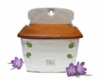 Vintage Salt Box, Ceramic Salt Pot with Wooden Lid, Wall Hanging Salt Jar, Italian Vintage Salt Cellar - 1960s - made in Czechoslovakia