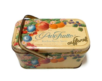 Vintage Tin Box with Handle, Vintage Tin with Lid, Italian Candy Box, Retro Advertising Metal Collection Box with Fruits and Flowers
