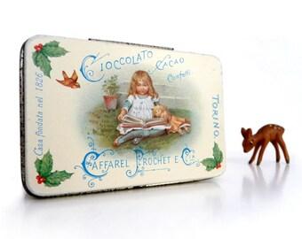 Vintage Tin Box, Candy Tin, Chocolate Tin, Metal Tin Vintage, Italian Vintage, Vintage Tin with Hinge Lid, Retro Tin Box, Sweet Tin