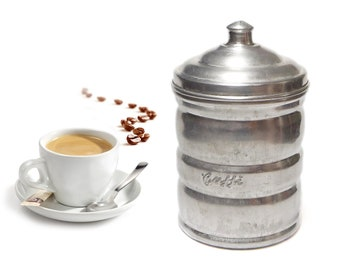 Vintage Coffee Canister, Aluminum Coffee Pot, Italian Coffee Tin, Coffee Jar, Kitchen Containers - 1960s
