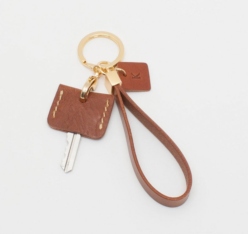 personalized key ring, Customized Leather Key chain, initials Keychains  Lanyards, leather Key cover, Leather Wrist Strap - TAN