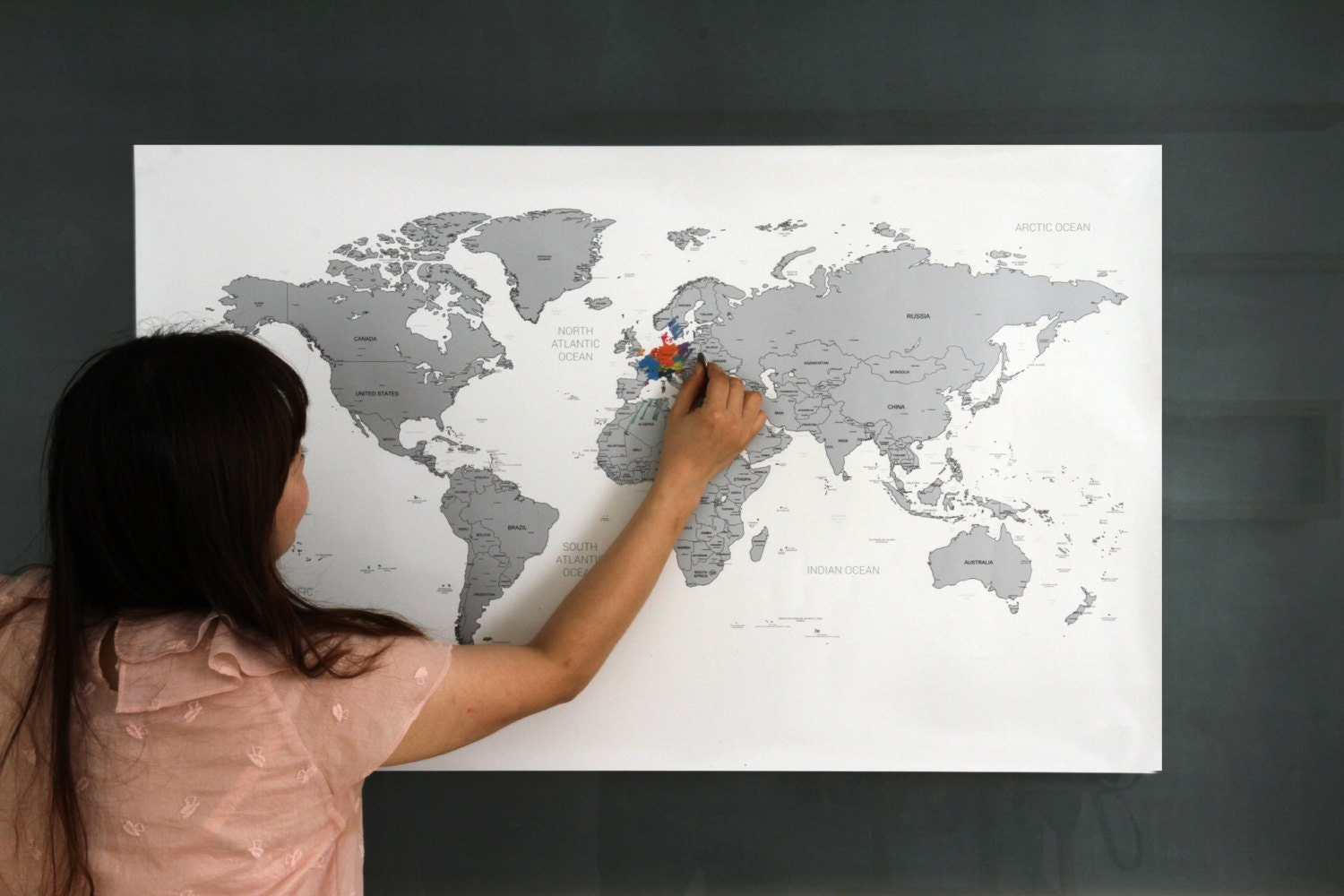 Black World Map Poster.Scratch Off World Map Poster Silver Gold Etsy
