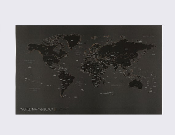 Black World Map Poster.New Black World Map Poster Etsy